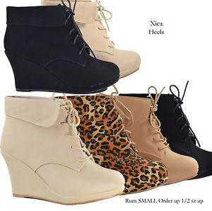 Ankle Boots Wedge Heel Platform Lace Up Booties Beige Black Shoes New
