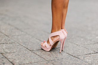 shoes high heels baby pink beige