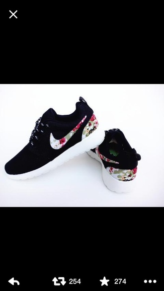 shoes nike flowers white black roche