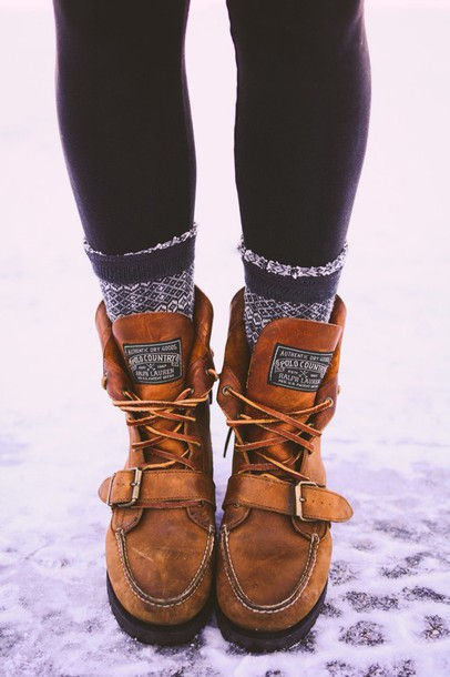 polo country boots winter boots winter swag shoes brown brown leather boots flat boots ralph lauren