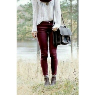 jeans red sweater scarf bag sweater
