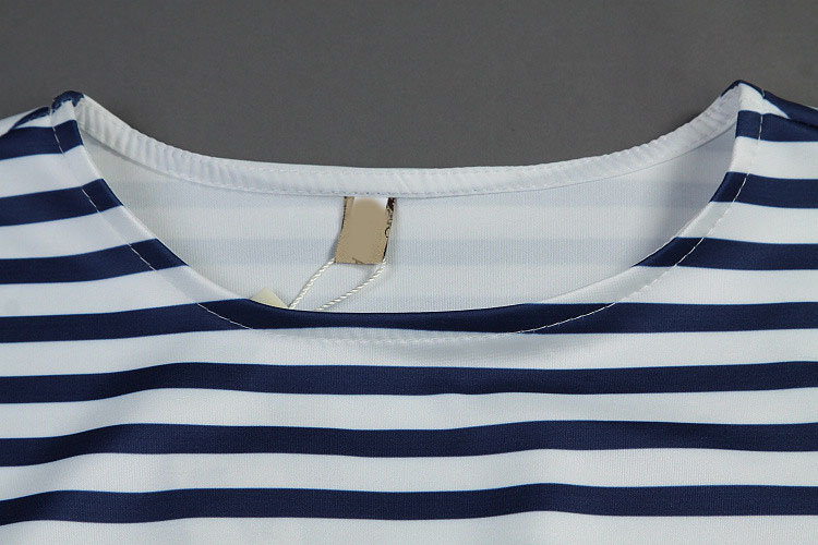 Blue White Striped Short Sleeve Top With Bodycon Skirt - Sheinside.com
