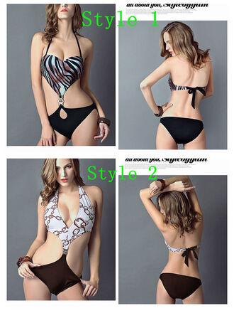 swimwear monokini zebra print halter neck bandage padded bikini sexy backless
