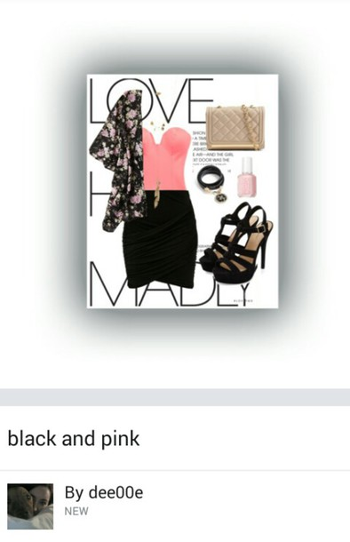 top bustier pink pink bustier floral kimono black black skirt black shoes floral bag nail polish