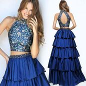 dress,sherri hill,blue dress,navy,printed dress,tiered dress,halter dress,prom dress,2 piece prom dress