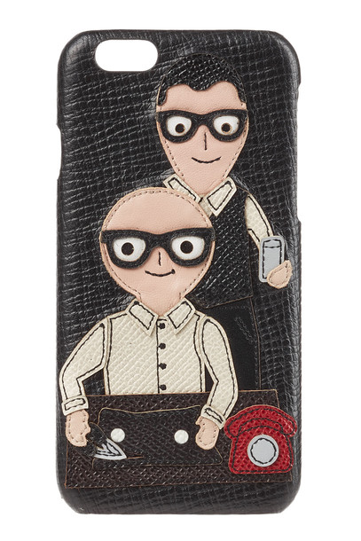 Dolce & Gabbana Leather Phone Cover with Appliqué  in black