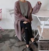 cardigan,knit,girly,oversized cardigan,long cardigan,purple,oversized,knitted cardigan,knitwear
