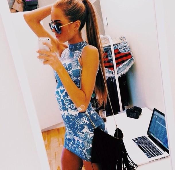bag black fringe fringes dress sunglasses