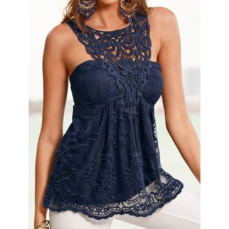 top tank top navy fashion style beautiful girly pretty summer top summer casual party party dress crochet love beach lace backless navy dress gorgeous cute smoking trendy