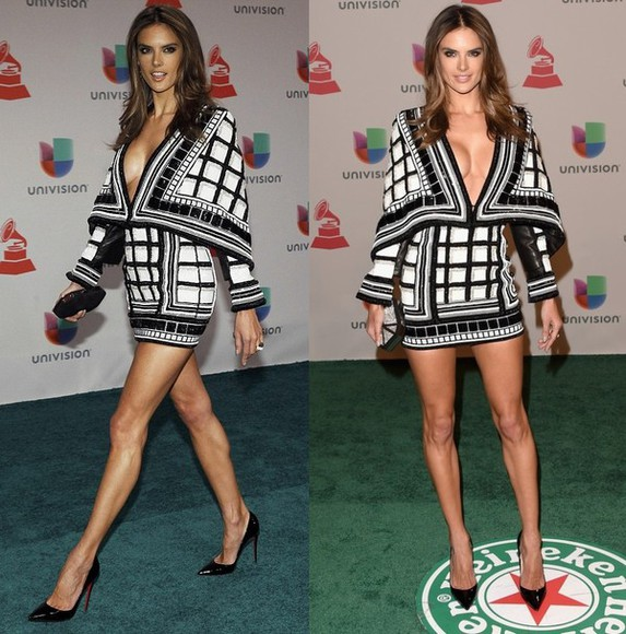 alessandra ambrosio dress black and white mini dress short dress