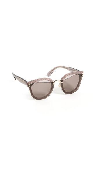 glitter sunglasses transparent purple pink brown