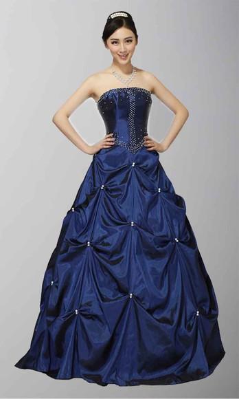 blue dress princess dress long prom gown strapless wedding dresses royal blue dress ruffled corset dress military ball dress quinceanera dreses