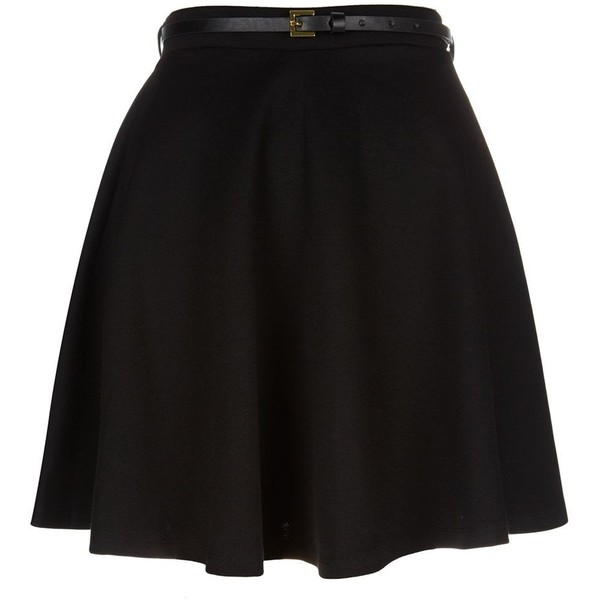 Black Belted Skater Skirt - Polyvore