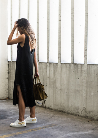 neon blush blogger dress bag sunglasses black midi dress slit dress sneakers white sneakers low top sneakers green bag suede bag open back open back dresses backless backless dress