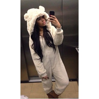 pajamas fluffy onesie next all in one bear ones cream onesie teddy onesie hood onesie with ears hood snuggle snuggle onese onesie fluffy ears cute underwear white bear onesies adult animals onesie animal onesies jumpsuit