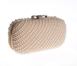 bag wedding bridal beaded clutch pearl crystal