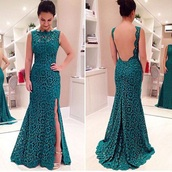 dress,emerald green,Flower lace,prom dress,long dress,side split,sexy round neck sleeveless furcal backless dress,prom,lace,tight,mermaid,blue,green,backless,high collar,mermaid prom dress,backless prom dress,open back,blue dress,any colour