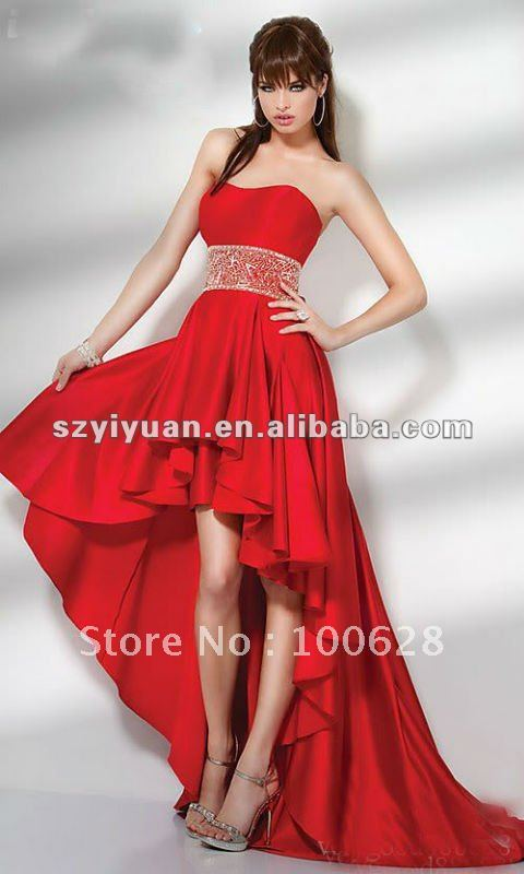 2012 latest strapless red short front long back prom dress-in Prom Dresses from Apparel & Accessories on Aliexpress.com