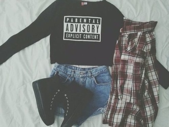 sweater letter printed t-shirt crop tops shirt black cute top outfit idea shorts shoes cool shirts white black and white top parental advisory explicit content long sleeve crop top graphic tee sneakers