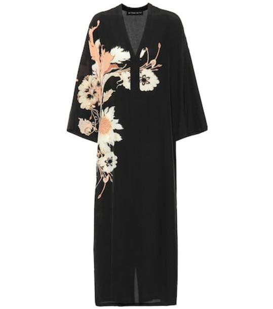 Etro Printed silk midi dress in black
