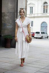 dress,white dress,backless,black round bag,shoes black wedges,puma fenty slides