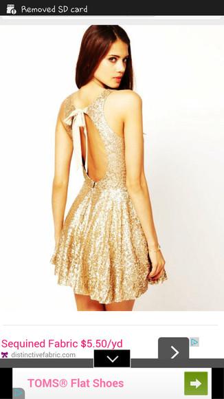 gold sequins sparkly sparkle sequin dress bowback bow back dress bows backless dress