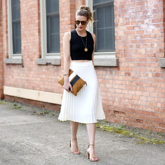 pennypincherfashion blogger top skirt shoes bag jewels sunglasses crop tops pleated skirt white skirt sandals high heel sandals clutch spring outfits