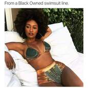 swimwear,plus size,curvy,pro black,african print,two-piece,cute,swimwear two piece,bikini,high waisted bikini,multicolor,tribal pattern,dashiki,green bikini,green swimwear,tropical swimwear