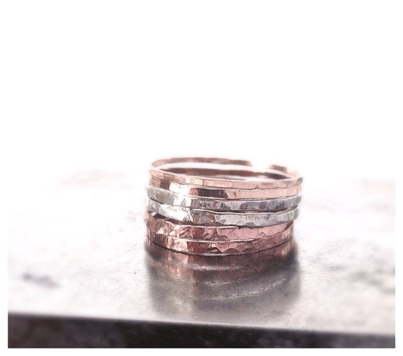Stacking Mixed Ring Rose Gold Gold and Sterling by camilaestrella