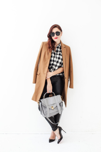 my style pill blogger shoes satchel bag camel coat leather pants office outfits