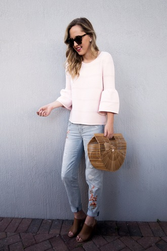 miami + dallas based lifestyle and fashion blog blogger jeans top bag sunglasses nail polish bell sleeves mules