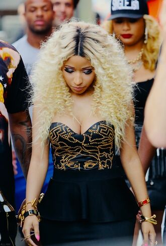 fashion blonde hair black black leather skirt dress nicki minaj high heels