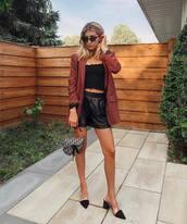 shoes,mules,zara shoes,black shorts,crop tops,check blazer,dior bag,retro sunglasses,top