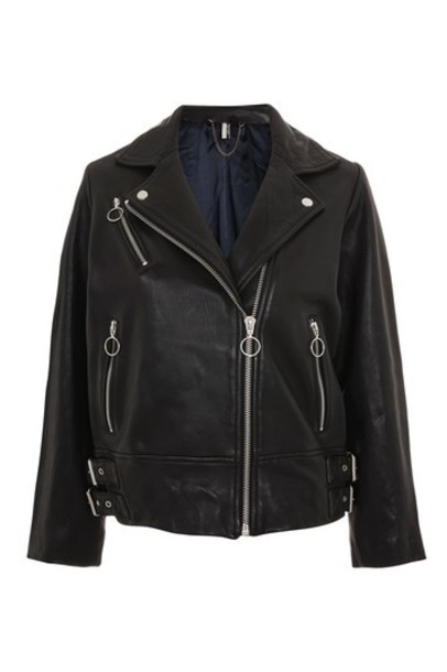 Topshop jacket biker jacket oversized leather black