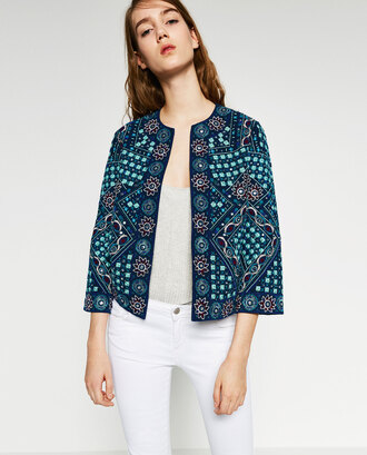 jacket embroidered turquoise