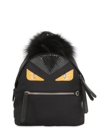 mini fur backpack black bag