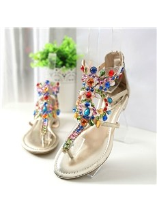 Wonderful Flat Heels Thong Sandals with Rhinestones
