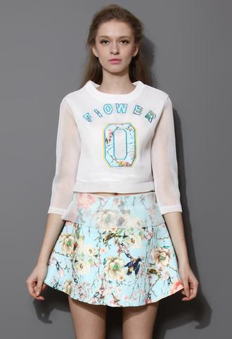 dress skirt floral spring breeze print top two-piece mint