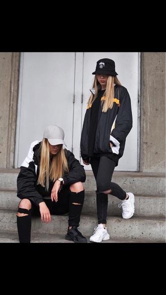 jacket shoes bucket hat cap black outfit