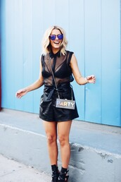 the courtney kerr,blogger,underwear,all black everything,mesh,sheer,sheer top,black blouse,leather skirt,black leather skirt,leather shorts