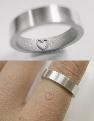 jewels heart imprint ring cute metal silver