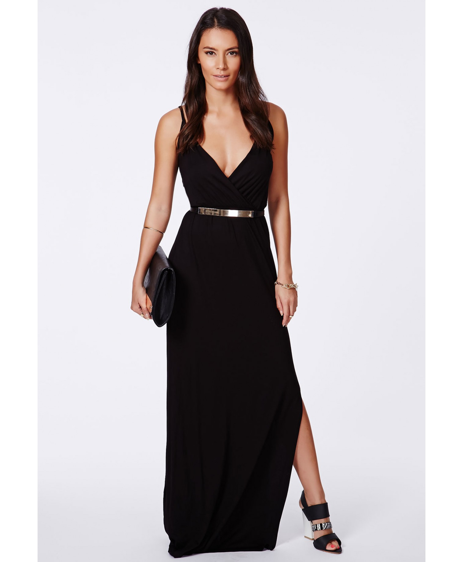 Lumie black strappy wrap front maxi dress