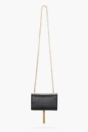 Saint Laurent Black Leather Tasseled Cassandre Shoulder Bag for women | SSENSE