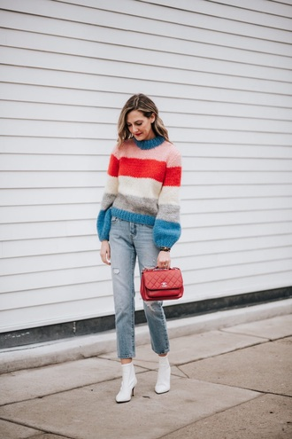 sweater striped sweater blue jeans boots white boots stripes multicolor jeans denim ankle boots