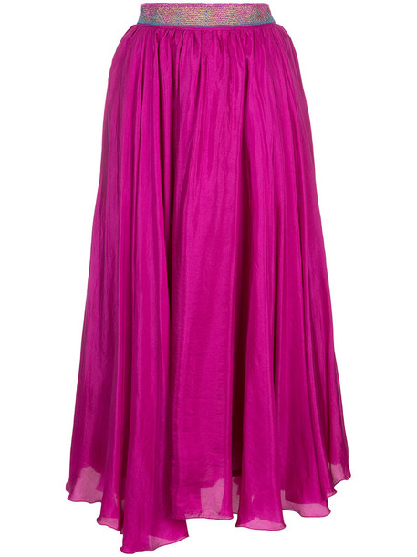 skirt women midi cotton purple pink