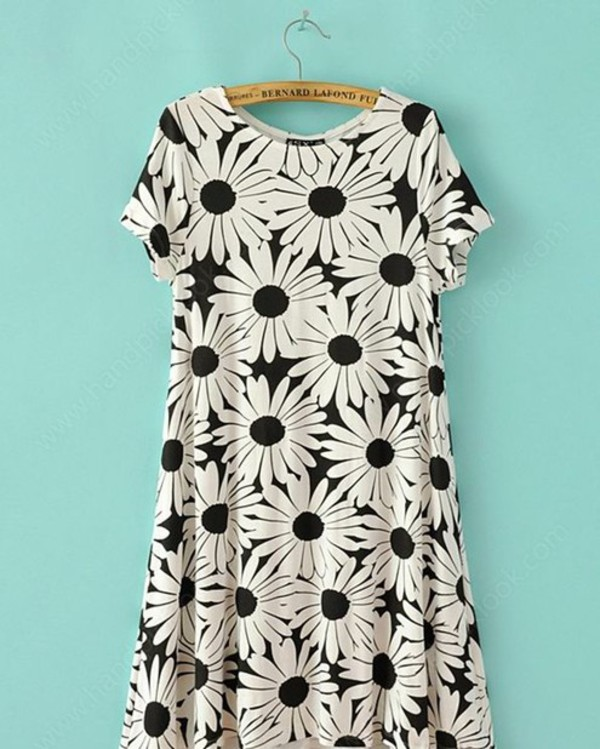 dress floral dress black and white dress floral daisy dress summer skirt monochrome