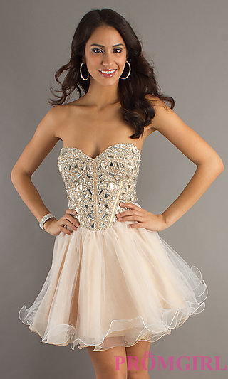 Strapless short prom dress by dave & johnny
