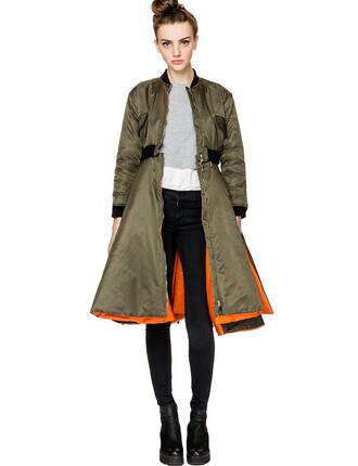 jacket kakhi bomber jacket jacket with slits bomber jacket long bomber jacket orange green khaki coat kakhi black cuffs black belt grunge slit flight flight jacket green jacket army green jacket olive green coat khaki bomber jacket rasheeda frost daybella vue boutique army green olive green bomber jacket