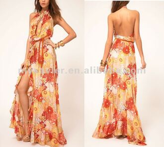 dress long dress maxi dress halter top halter dress cut-out chest slit dress flowers floral low back extra low back ruffled hem