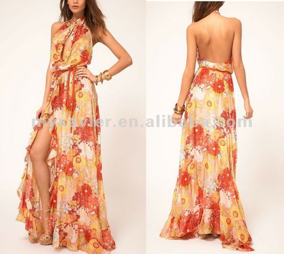 dress long dress low back floral maxi dress halter top halter dress cut-out chest slit dress flower extra low back ruffled hem